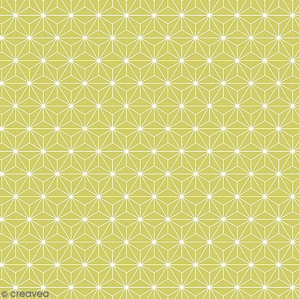 Grand coupon de tissu coton microfibre - Motif Etoile scandinave - Vert - 300 x 160 cm - Photo n°1
