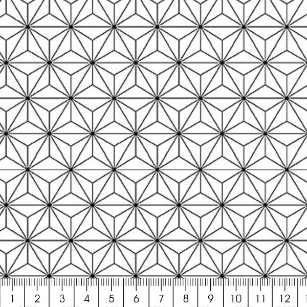 Grand coupon de tissu coton microfibre - Motif Etoile scandinave - Noir - 300 x 160 cm - Photo n°2