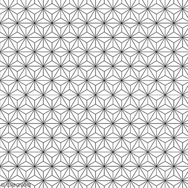 Grand coupon de tissu coton microfibre - Motif Etoile scandinave - Noir - 300 x 160 cm - Photo n°1