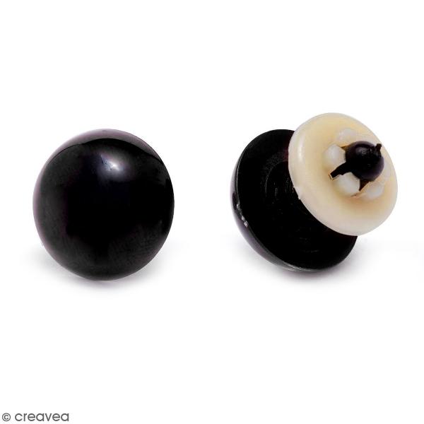 Yeux de sécurité en plastique noir - 8 mm - 1 paire - Photo n°1