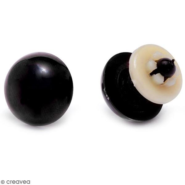 Yeux de sécurité en plastique noir - 12 mm - 1 paire - Photo n°1