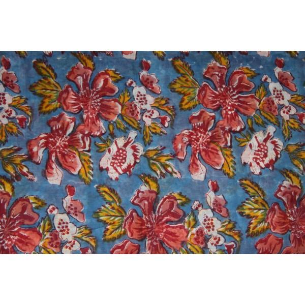 Coupon de voile de coton fleuri imprimé à la main en 1.1m par 1.8 m - Photo n°3