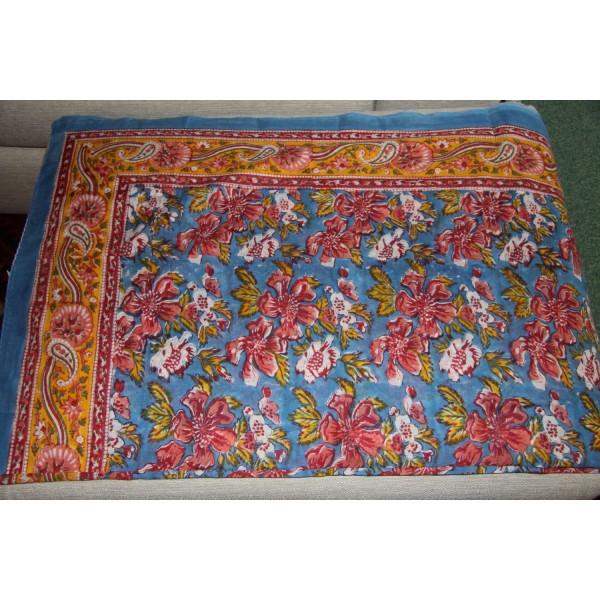 Coupon de voile de coton fleuri imprimé à la main en 1.1m par 1.8 m - Photo n°1