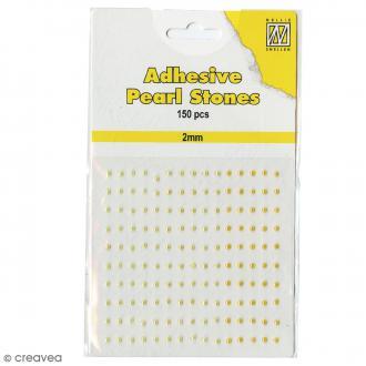 Perles adhésives rondes - Jaune & doré - 2 mm - 150 pcs