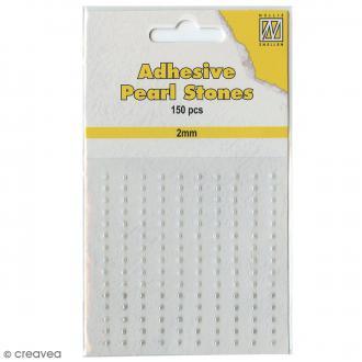Perles adhésives rondes - Blanc, nacré & argenté - 2 mm - 150 pcs