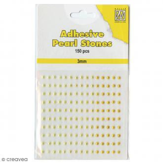 Perles adhésives rondes - Jaune & doré - 3 mm - 150 pcs