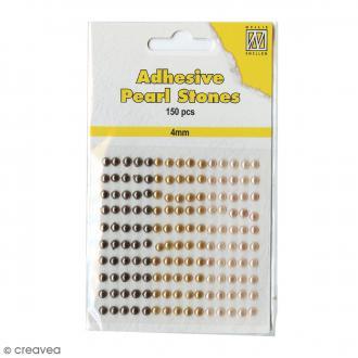 Perles adhésives rondes - Marron, doré & nacré - 4 mm - 150 pcs