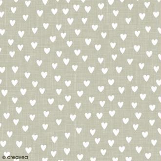Serviette en papier Mariage - Coeurs blancs sur fond gris - 20 pcs