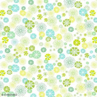 Serviette en papier Fleur - Fleurs vertes et bleues - 20 pcs