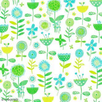 Serviette en papier Fleur - Plantes vertes et bleues - 20 pcs