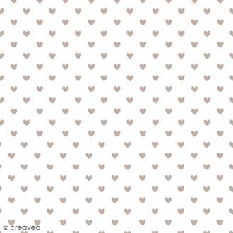 Serviette en papier Mariage - Petits coeurs gris sur fond blanc - 20 pcs