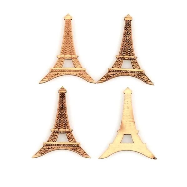 Pack de 5 embellissements en bois Tour Eiffel, scrapbooking - Photo n°2