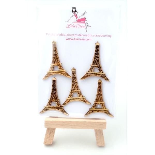 Pack de 5 embellissements en bois Tour Eiffel, scrapbooking - Photo n°3