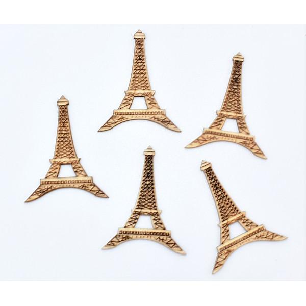 Pack de 5 embellissements en bois Tour Eiffel, scrapbooking - Photo n°1