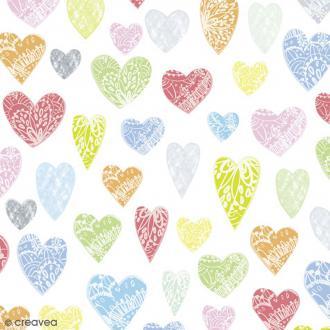Serviette en papier Mariage - Coeurs colorés - 20 pcs