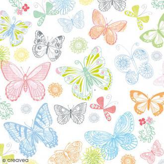 Serviette en papier Nature - Papillons multicolores sur fond blanc - 20 pcs