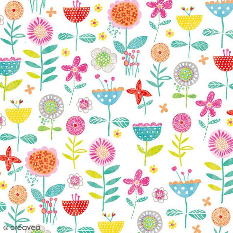 Serviette en papier Fleur - Plantes multicolores sur fond ...
