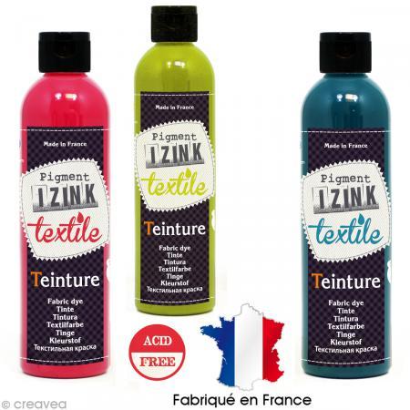 Teinture textile froid izink 180 ml 12 coloris teinture froid cre - Teinture pour tissus coton ...