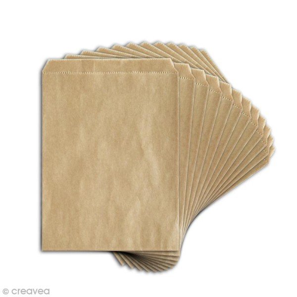 Sachet cadeau kraft - Uni - 13 x 18 cm - 12 pcs - Photo n°2