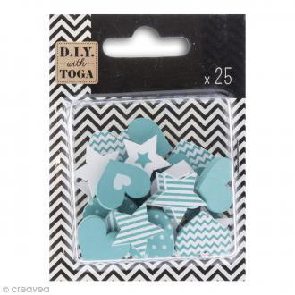 Formes en bois - Coeur et étoile - Bleu turquoise - 25 pcs