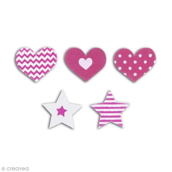 Formes en bois - Coeur et étoile - Rose fuchsia - 25 pcs - Photo n°2