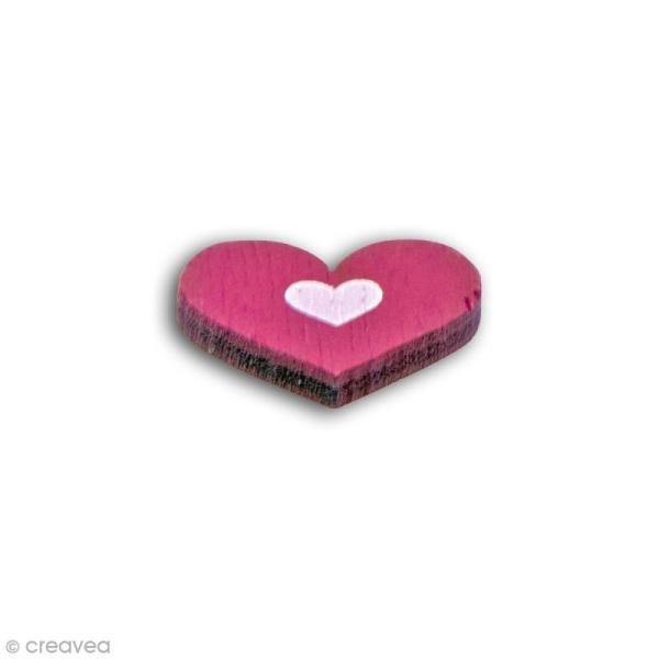 Formes en bois - Coeur et étoile - Rose fuchsia - 25 pcs - Photo n°3