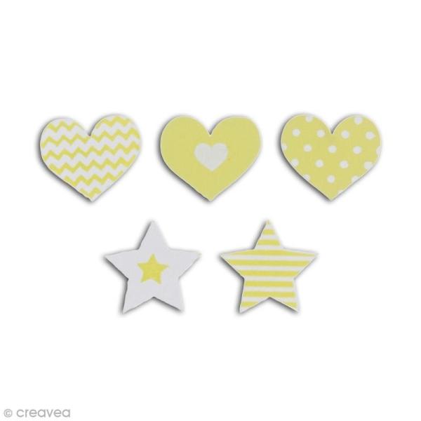 Formes en bois - Coeur et étoile - Vert - 25 pcs - Photo n°2