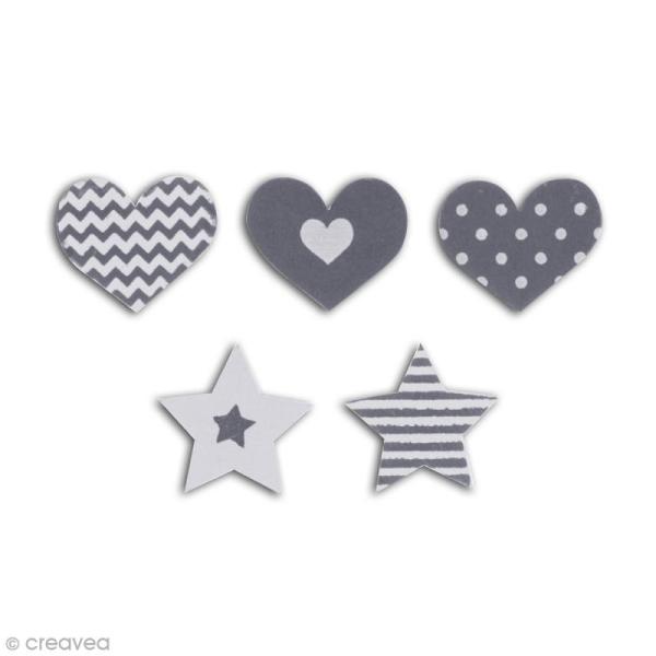 Formes en bois - Coeur et étoile - Gris - 25 pcs - Photo n°2