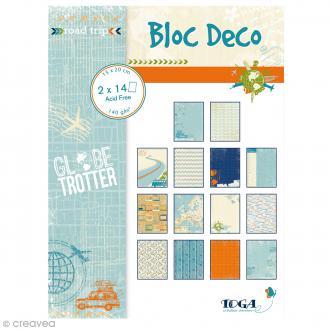 Papier scrap Toga - Bloc déco - Globe Trotter - 15 x 20 cm - 28 feuilles