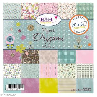 Papier Origami Recto/Verso Mille et une fleurs - 15 x 15 cm - 100 pcs
