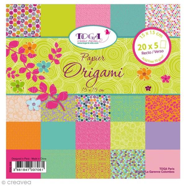 Papier Origami Recto/Verso Pois de senteur - 15 x 15 cm - 100 pcs - Photo n°1