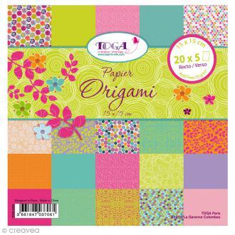 Papier Origami Recto/Verso Pois de senteur - 15 x 15 cm - 100 pcs