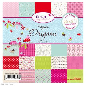 Papier Origami Recto/Verso Coccinelle - 15 x 15 cm - 100 pcs