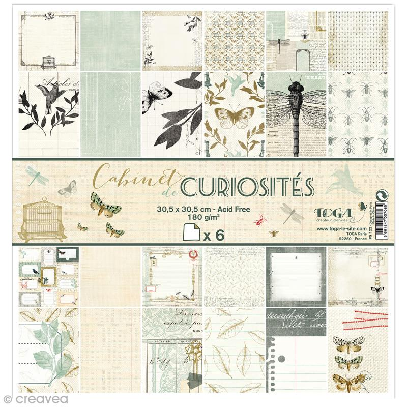papier scrapbooking recto verso cabinet de curiosit s set de 6 feuilles 30 5 x 30 5 cm. Black Bedroom Furniture Sets. Home Design Ideas