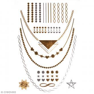Tatouage temporaire Bijoux - Coeurs étoiles et fleurs - 25 tattoos