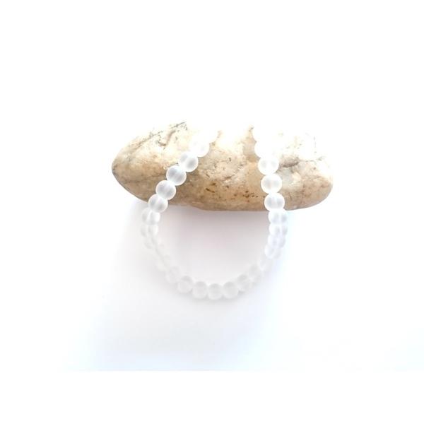 50 Perles en Pierre de Lune Rond Transparent Givré 8mm Dia, 38.9cm long, - Photo n°1