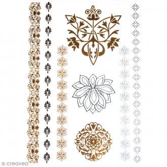 Tatouage temporaire Bijoux - Fleurs - 8 tattoos