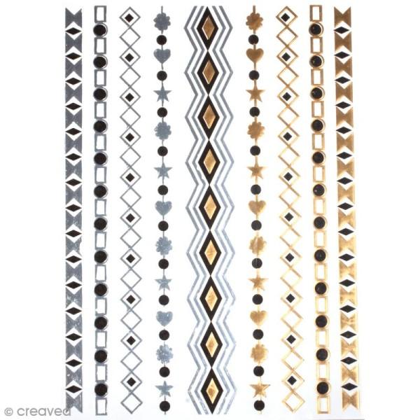 Tatouage temporaire Bijoux - Bracelets géométriques - 9 tattoos - Photo n°1