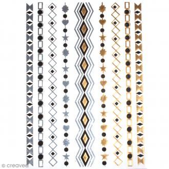 Tatouage temporaire Bijoux - Bracelets géométriques - 9 tattoos
