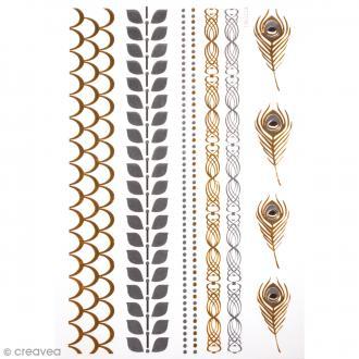 Tatouage temporaire Bijoux - Bracelets et plumes - 10 tattoos