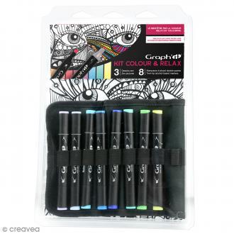 Kit coloriage Graph'it Colours & relax - Visage couleurs nature