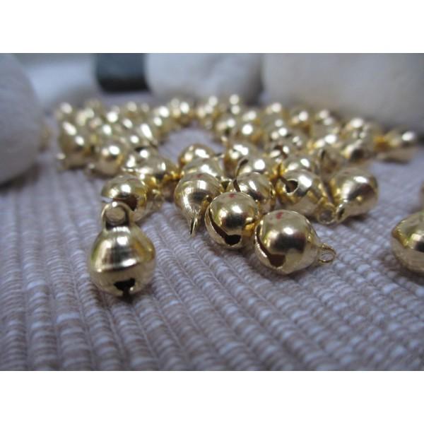 Grelot doré 10mm diam. forme ronde,50 pces,qualité sup.(laiton), - Photo n°5