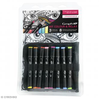 Kit coloriage Graph'it Colours & relax - Visage couleurs vives
