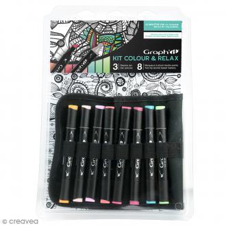 Kit coloriage Graph'it Colours & relax - Feuillages couleurs vives