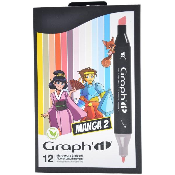 Assortiment Feutre à alcool Graph'it - Characters colors - 12 marqueurs - Photo n°1