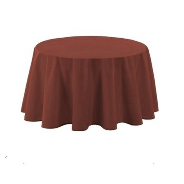 Nappe polyester ronde D180 cm chocolat - Photo n°1
