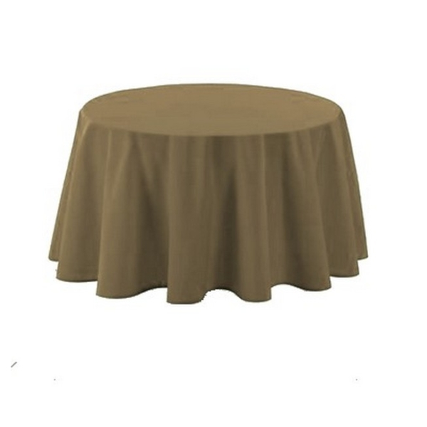 Nappe polyester ronde D180 cm taupe - Photo n°1