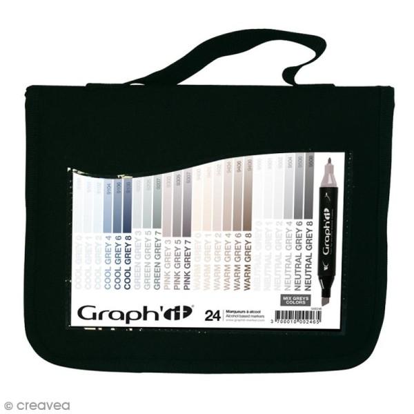 Assortiment Feutre à alcool Graph'it Mix greys colors - 24 marqueurs - Photo n°1