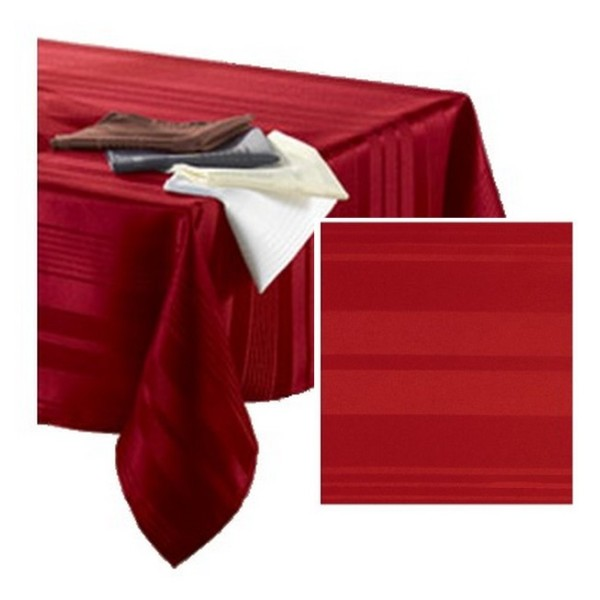 Nappe polyester rouge 140 cm x 300 cm rayures ton sur ton - Photo n°1