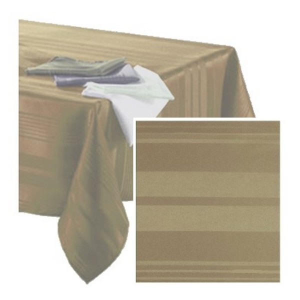 Nappe polyester taupe 140 cm x 250 cm rayures ton sur ton - Photo n°1